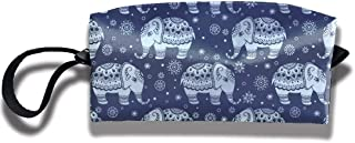 Mini Makeup Bag Ethnic Indian Elephant Portable Cosmetic Bag Sewing Kit Medicine Bag for Home Office Travel Sport