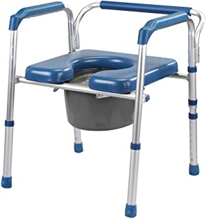 Easy Comforts Folding Commode with Padded Seat, Portable Toilet and Bedside Commode Chair