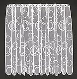 Scheibengardine Kringel 110 cm hoch | Breite der Gardine durch gekaufte Menge in 11 cm Schritten wählbar (Anfertigung nach Maß) | Weiß | Vorhang Küche Wohnzimmer