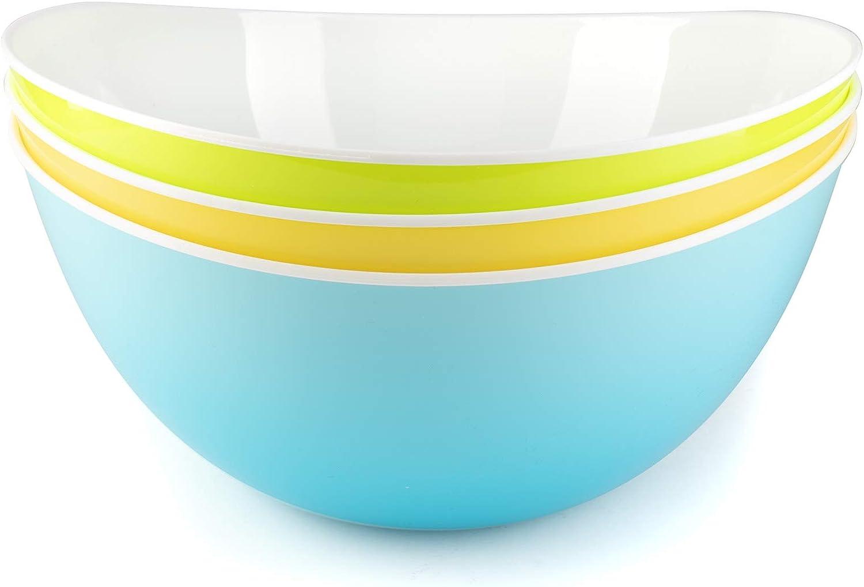 Ensaladera plastico cuenco ensalada palomitas cocina pasta tazones grandes postre - 3 cuencos multicolor