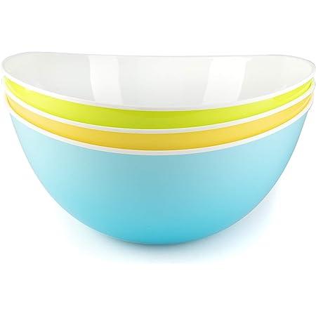 Grand saladier plastique bol couleur melangeur reutilisable micro ondes cuisine - Lot de 3
