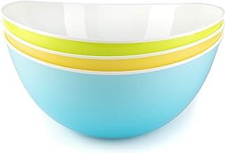 Salad Bowl Plastic Pasta Tableware Large Mixing Bowls Serving Snacks - Set of 3
