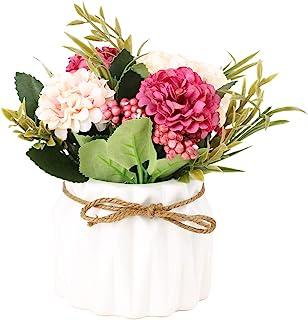 SUPNIU Artificial Hydrangea Bouquet with Small Ceramic Vase Fake Silk Variety Flower..