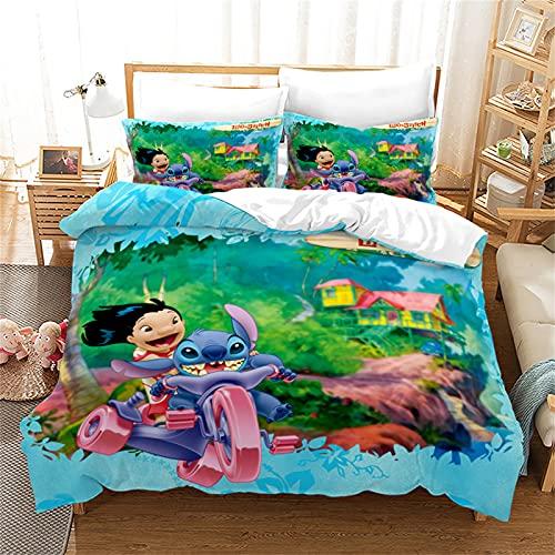 LKFFHAVD Stitch Juego de ropa de cama Lilo & Stitch, funda de edredón con funda de almohada, impresión 3D, 100% microfibra, gruesa y suave, adecuado para niños y niñas (135 x 200 cm, 13)