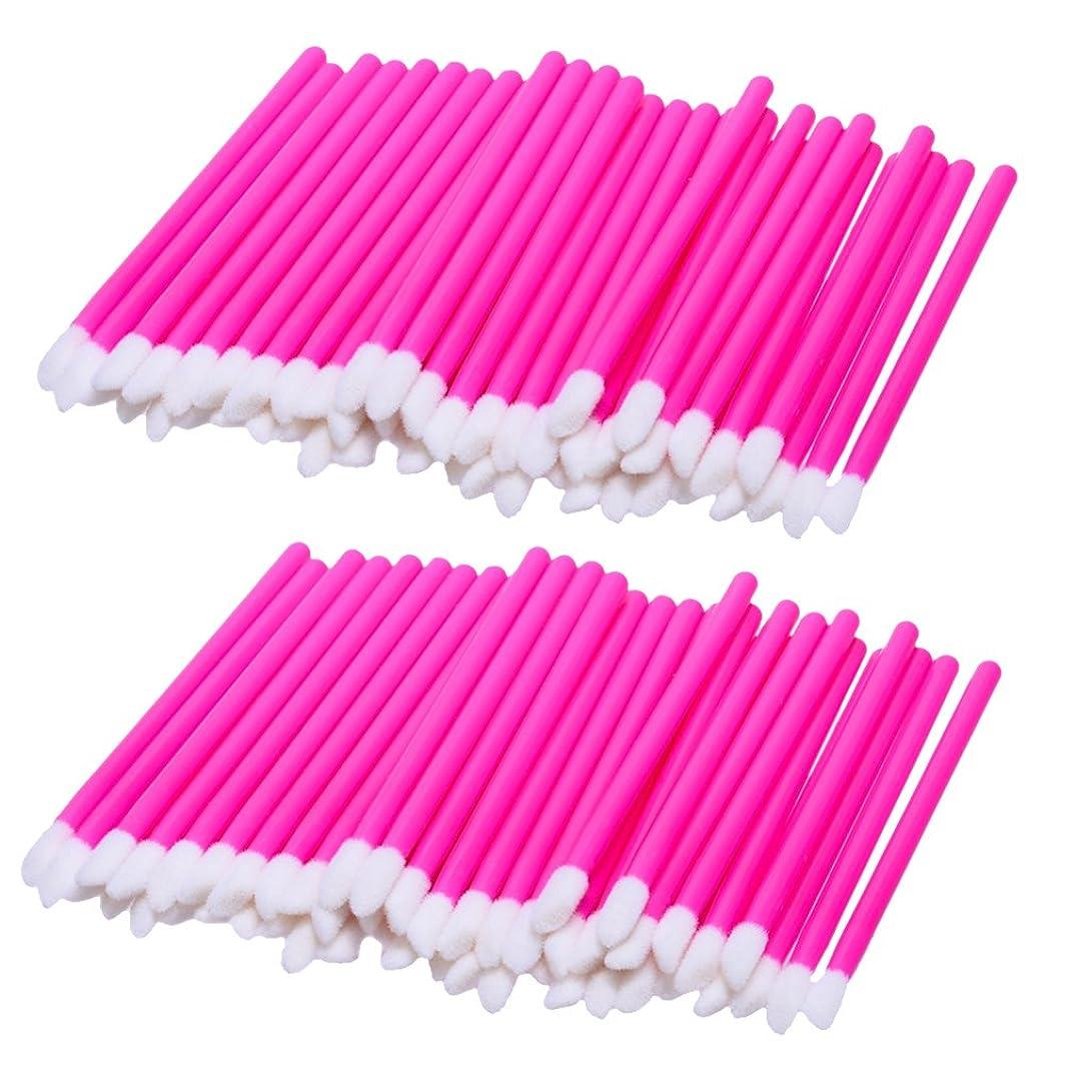 捨てるレンチまさにKesoto リップブラシ 使い捨て 携帯用 便利 化粧リップ 業務用 約100ピース入り 柔らかい毛 軽量 全3色 - ピンク