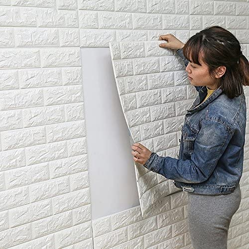 Amazon Com Diy Self Adhesive 3d Wall Stickers Bedroom Decor Foam Brick Room Decor Wallpaper Wall Decor Living Wall Sticker For Kids Room White Baby