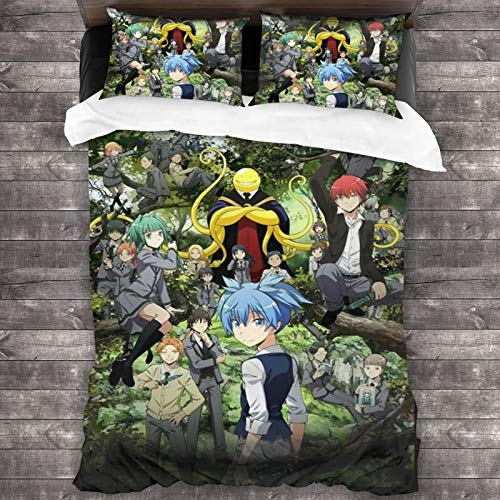 LMHBLTOP Bedding Duvet Cover 3 Piece Set – Ultra Soft Double Brushed Microfiber Assassination Classroom Comforter Cover and 2 Pillowcase - 86' X70
