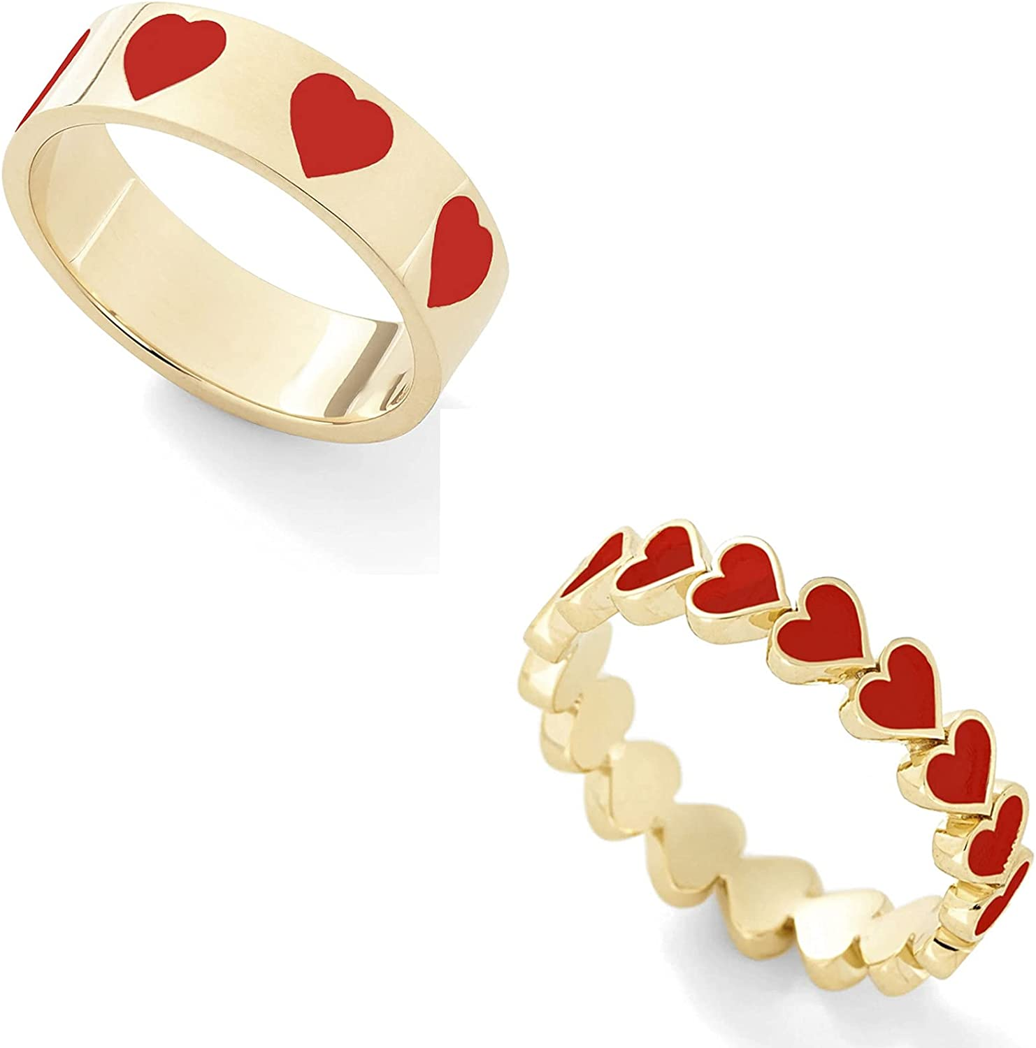 2 Pcs Colorful Heart Shape Love Rings Set Gold Plated Stackable Rings Set for Women Girl jewelry(Size 7)