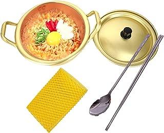 korean ramen noodle pot cooker + stainless chopsticks spoon set + dish scrubber, k-drama korea traditional hotpot cooking ramyun quick boiling pots