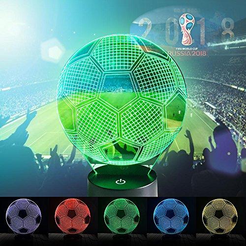 Soccer 3D Desk Lamp, 3D Illusion 7 Colors Touch Football Desk Table Lamp for Kids Children Sports Fans World Cup 2018