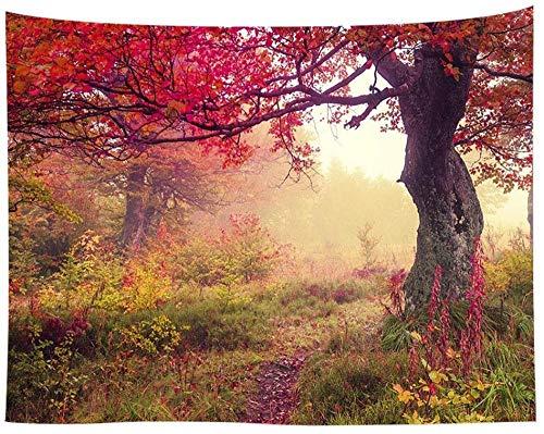 weilaike Tapiz de paisaje otoñal con árboles de arce con rana de la mañana en el bosque de niebla, arte relajante, decoración de pared, para dormitorio, salón, dormitorio, 150 x 200 cm