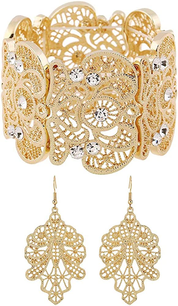 Amupper Metal Lace Bracelet and Earrings Set Bohemian Filigree Cuff Bangle Antique Jewelry for Womens Ladies
