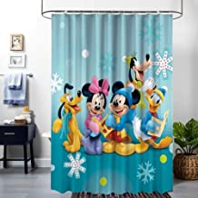 DISNEY COLLECTION Shower Curtain Goofy Mickey Mouse Minnie Donald Duck Pluto Desktop Wallpaper Hd Bathroom Shower Curtains with Hooks