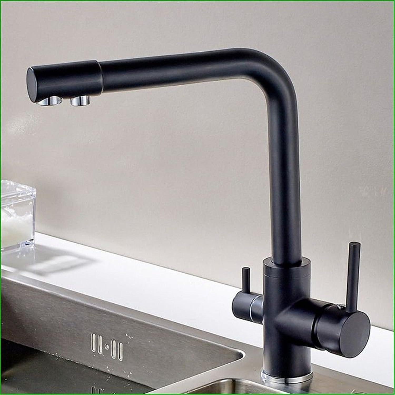 MNLMJ Kupferne Hei und kalt Küchenspülenhhne Küchenhahn Alle kupfernen schwarzen Sprühfarbe reines Wasser mit doppeltem Verwendungszweck Doppelkopf-Küchenhahn-Spülenhahn Geeignet für alle Zimmer-
