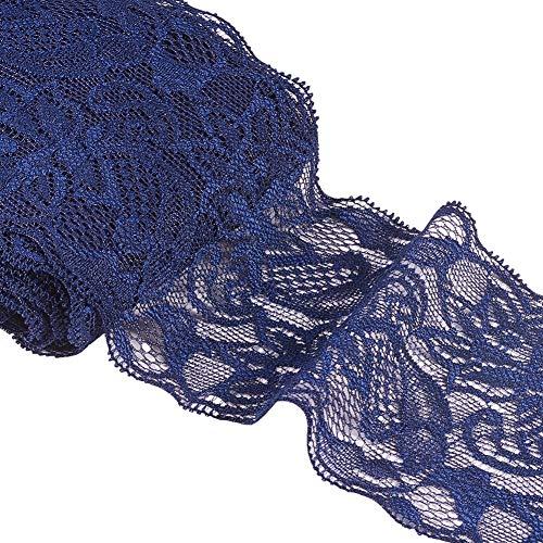BENECREAT 2 Rollos 18m Cinta Azul Oscuro de Encaje 80mm de Ancho Tela de Encaje Elástico para Costura, Manualidad, Decoración de Boda y Regalo 9m / Rollo