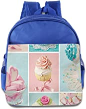 DiadsJun Collage Of Cupcakes And Marshmallows In Pastel Colors Cute Sweet Boys Girls High-Grade School Backpacks RoyalBlue