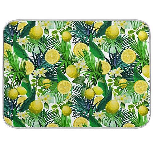Oarenol Tropical Lemon Palm Flower Dish Drying Mat Summer Fruit Floral Large 18 x 24 Inch Reversible Drying Mat for Kitchen Counter