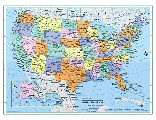 CoolOwlMaps Untited States Wall Map Political USA Color Poster W22'xH17' - Large Type Rolled Paper