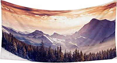 ArtzFolio Winter Landscape Austria, Europe D1 Silk Fabric Tapestry Wall Hanging 55.6inch x 29.7inch (141.2cms x 75.4cms)