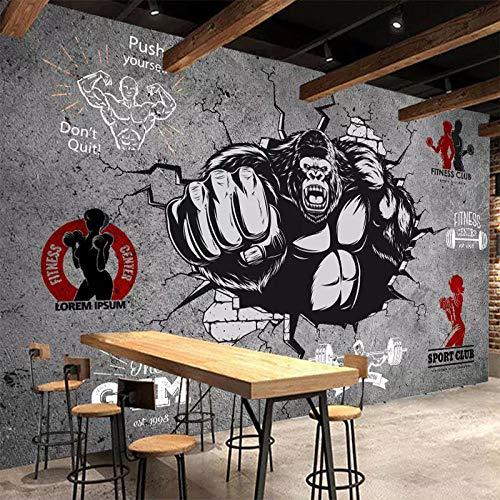 CQDSQN 3D Adesivi murali Bodybuilding Gorilla Gym Autoadesiva PVC Sfondo Murale Ristorante Caffetteria Murale Capelli Chiodo bellezza Tema Moderno Fotografie Manifesto arte muraria Corr(W)500x(H)375cm