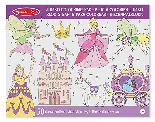 Melissa & Doug Jumbo Colouring Pad - Princess & Fairy | Activity Pad | Coloring Pads | 3+ | Gift for Boy or Girl