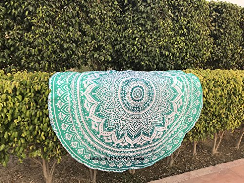 Raajsee Indiase strandhanddoek, rond, mandala, hippie/groot, Indisch rond katoen/boho, rond, yogamat, doek, meditatie/tafelkleed, rond, ophangkleed, picknick, handgemaakt tapijt, 70 inch traditioneel 75 inch Groen ombre.