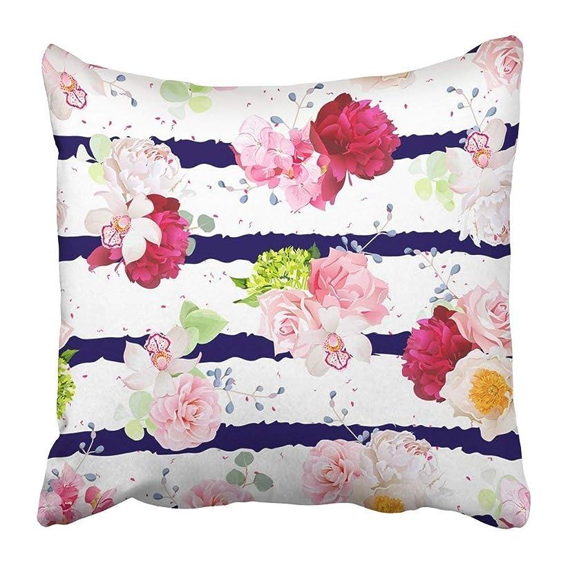 水平メイド未来Throw Pillow Covers Print Navy Striped with Bouquets of Rose Peony Hydrangea Camellia Carnation and Eucalyptus Leaves Polyester 18 X 18 inch Square Hidden Zipper Decorative Pillowcase