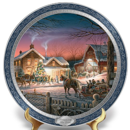 The Bradford Exchange Terry Redlin 120th Anniversary Collector Plate: Trimming The Tree