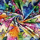 FS204 Tessuto Scuba multicolore con stampa a farfalla arcobaleno – venduto al metro