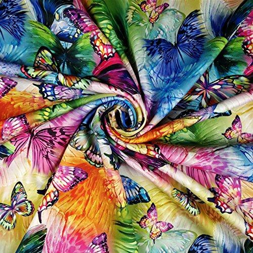 Scuba-Stoff FS204, mehrfarbig, Regenbogen-Schmetterlingsdruck, hochwertig, Meterware