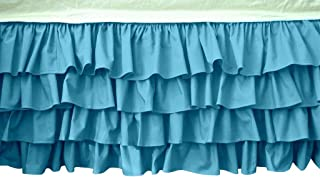 Fab Linens ! 17 Inch Drop Length Expanded Queen Size Multi Ruffle Bed Skirt Solid Baby Blue 1500 Series Brushed Microfiber - Covers Bed Legs & Frame