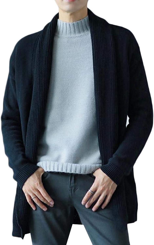 - Vska Men's Knitting Wrap Solid-colord Loose Loose Loose Cardigan Sweater 7710c6