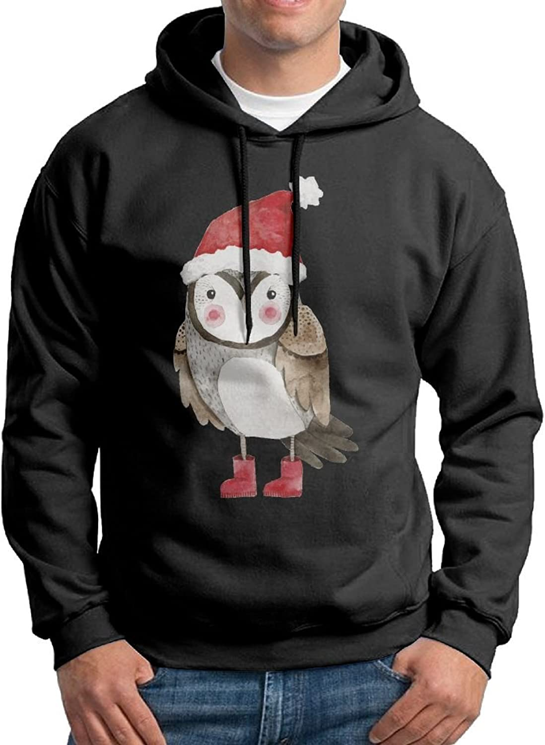 Fashion Men's Athletic Christmas Owl Print Soft & Cozy Drawstring Sweatshirt Without Pocket Hoody Black