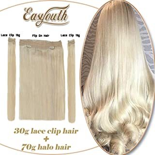 Easyouth Clip in 100 Human Hair Extensions 12 inch Color Blonde 100g Human Hair Halo Extensions 2Pcs 15g pcs Clips with one Piece Fishing Line No Glue Hair Extensions
