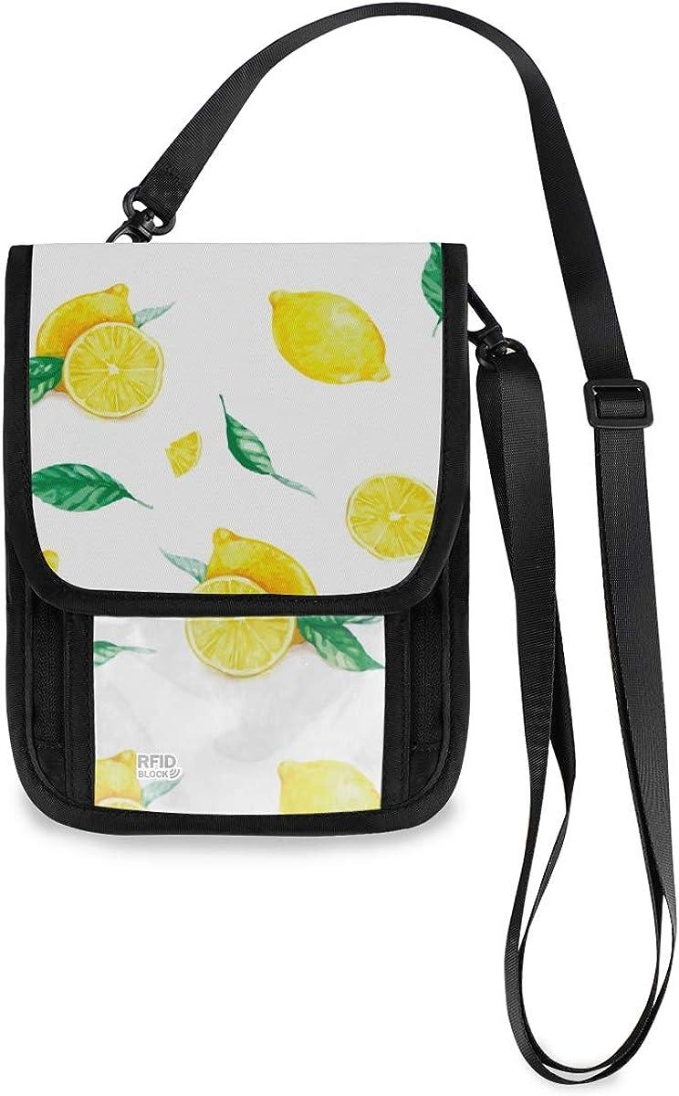 VIKKO Branded goods Max 84% OFF Yellow Lemons Leaves Travel Wallet With Blockin RFID Neck