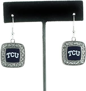 Officially Licensed TCU Horned Frogs Silvertone Square Crystal Studded Earrings