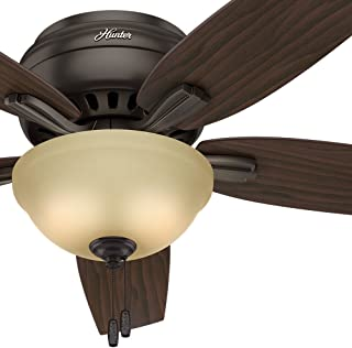 Hunter Fan 52in Hugger Ceiling Fan in Premier Bronze with a Cased White Glass Light Kit, 5 Blade (Renewed)