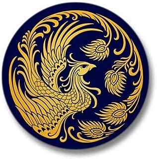 Traditional Yellow Phoenix Circle on Blue Mini But 1
