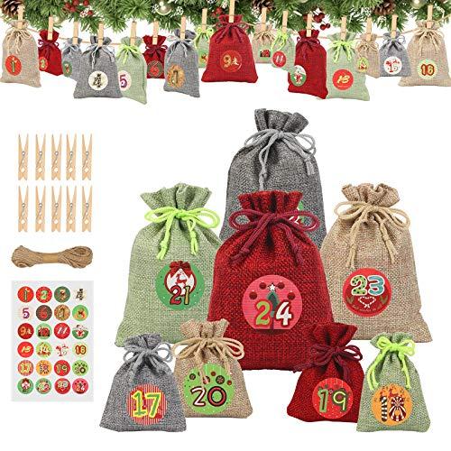 24PCS Bolsa de Lino CHALA Bolsitas de Tela Saco Navidad Reutilizables para Bodas/Joyas/Regalos/Carbón/Café/Azúcar/Cacao/Especias/Cadens /Pulsera/Reloje/Moneda/Tarjeta/Manualidades/Envoltura de Dulces