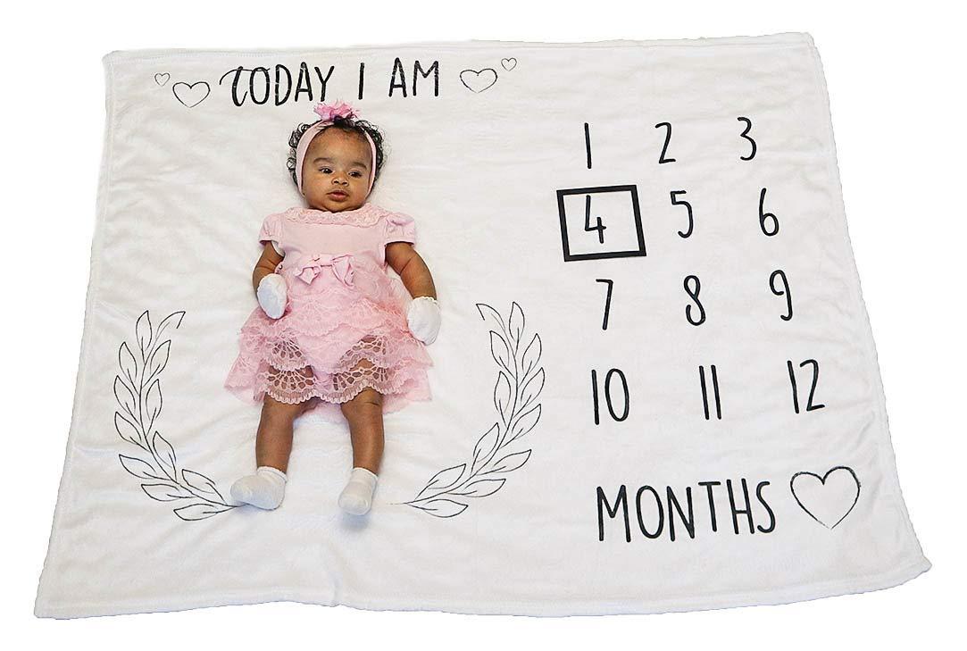 4bebe Baby Monthly Milestone Blanket   Organic Fleece Soft   Gentle for Newborn Baby boy or Girl   1 to 12 Months milestones   Perfect Photography Backdrop Memories