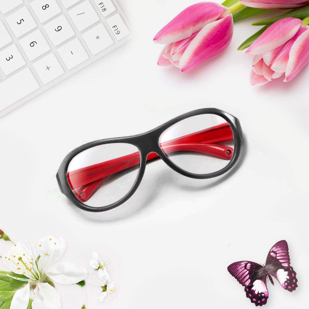 OAXYGEN Kids Blue Light Blocking Glasses (Oval Black/Red)