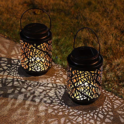 JHY DESIGN 2er Pack Solar Laternenleuchten solarbetrieben Tischlampen Leuchten Hängende Gartenlampe Metall Solar Laternen mit Griff für den Outdoor Gehweg Garten Landschaft Park Lawn Terrasse(Hohlast)