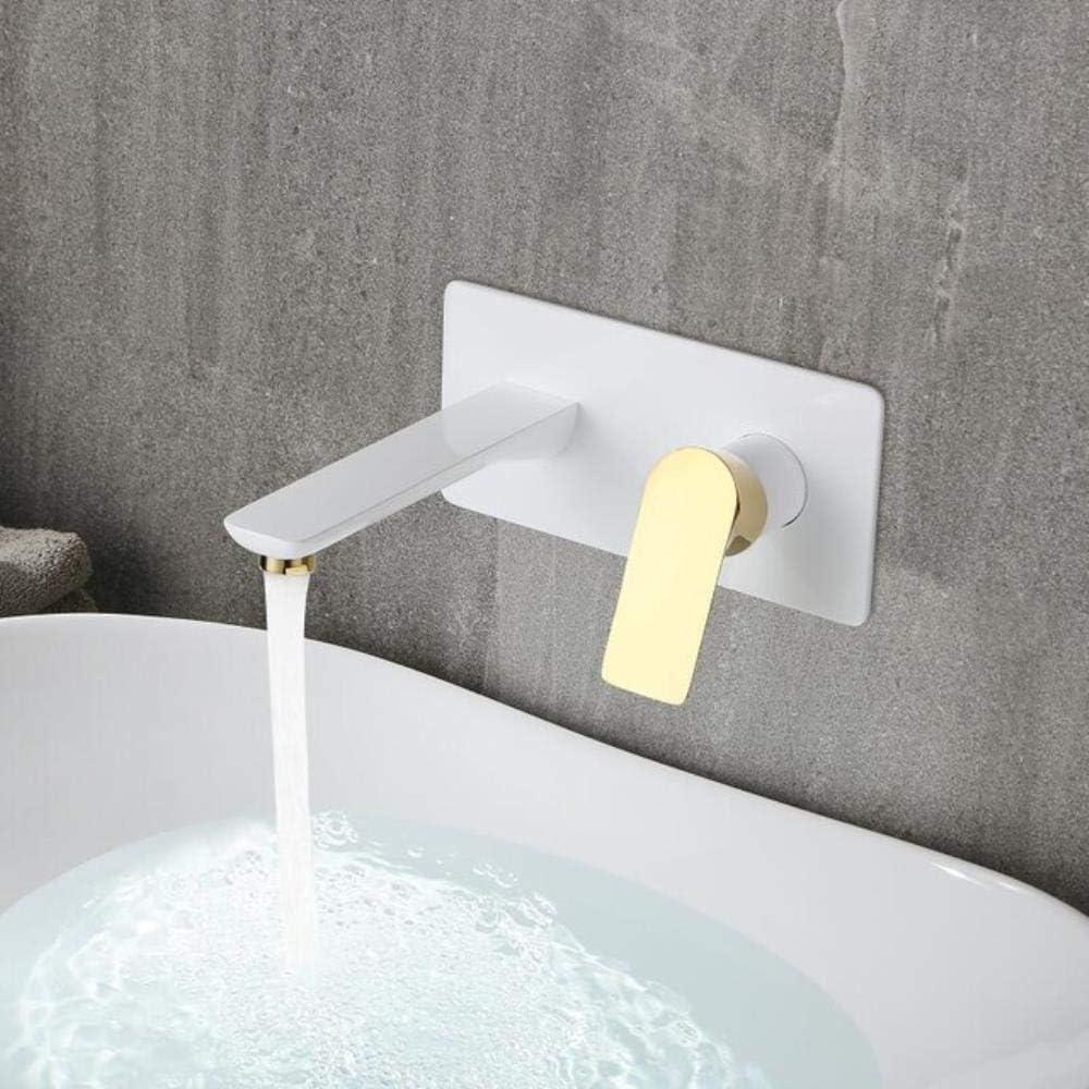 Montado en la pared del grifo del lavabo de una manija oro/cromo baño de mezclador del grifo caliente fría del grifo del fregadero de la grúa Cuenca En colada de la pared del grifo, blanco y oro