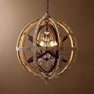 Home Equipment 5 Light Rustic Loft Adjustable Chandelier E14 Antique Wooden Globe Metal Orb Crystal Ceiling Pendant Light ...