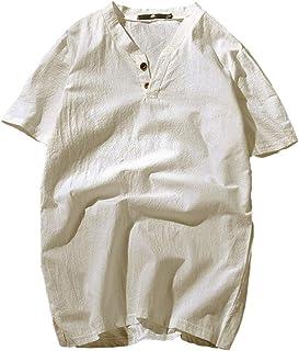 WonderBabe 【夏物セール】【在庫一掃】リネンTシャツ メンズ 半袖 Vネック 綿麻 カジュアル ヘンリーネック 無地 スウェット 3ボタン 薄手 ゆったり トップス カットソー ビジネス 通勤 部屋着 普段着 春 夏 XL~XXL