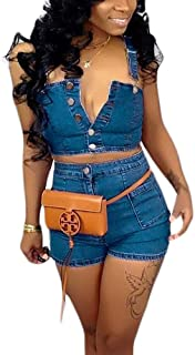 acelyn Women's Denim Shorts Set Bodycon Tank Crop Tops + Short Pants 2 Piece Jean Rompers Outfits