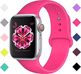 Bandx Sport Band Compatible with Smart Watch Band, Soft Silicone Replacement Bands Compatible with Iwatch Series 5,4,3,2,1 (42mm(44mm)-S/M, Barbie Pink)