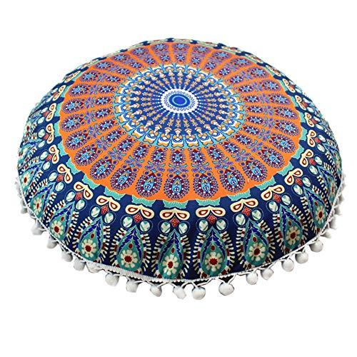 Handfly Funda de cojín de suelo redonda con diseño de mandala hippie para decoración de yoga, 43 cm
