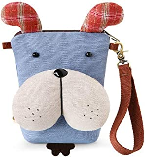 XIAO Cell phone purse, can be used as crossbody bag gift, cute cartoon,ArmyGreen,size: 13 * 17cm Happy day (Color : Light blue)