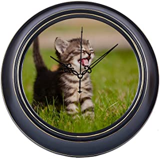 14 Inch Large Silent Non Ticking Wall Clock Adorable Meowing Tabby Kitten Outdoors Printing Round Metal Clock Wall Decor Quality Quartz Battery Operated Quiet Clock For Home Office School Bedroom